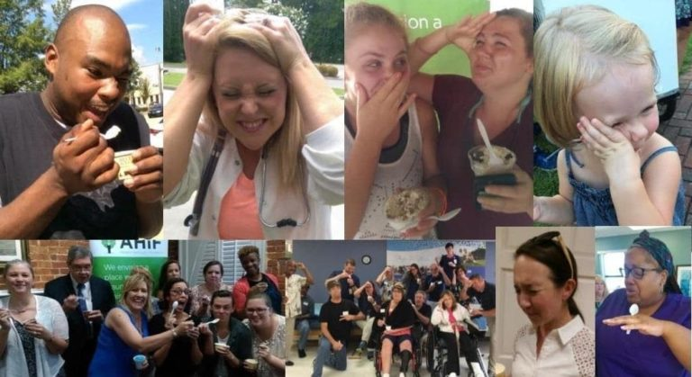 photo made up of 8 photos of people doing the brain freeze challenge