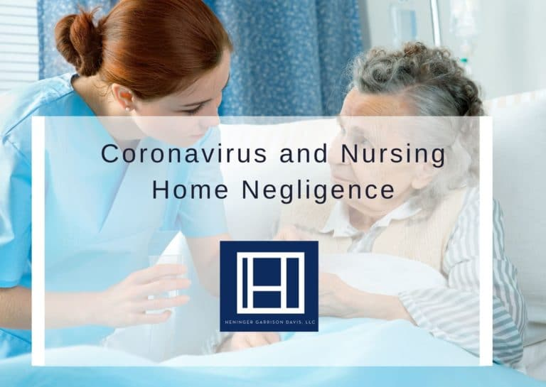 image of nurse and older lady with lettering that says coronavirus and nursing home negligence